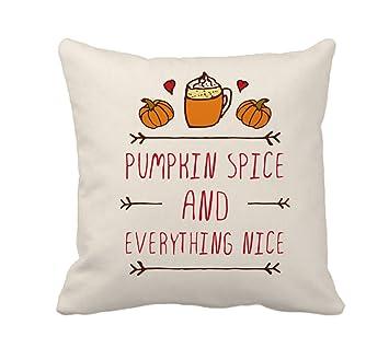 Pumpkin Spice Fall Halloween Home Decor Throw Pillow Cover Cotton Polyester  Cusion Case 18 X 18