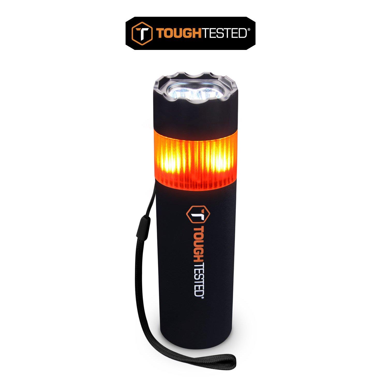 ToughTested - 5200mAh High-powered 100-120 lumen flashlight - SOS flashing red LED Beacon Emergency Flashlight - (Window Breaker & Powerbank)