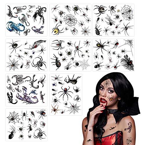 Koogel Karneval Spinnen Tattoos, 12 Blatt 120 Stk. Spinnennetz Aufkleber Schaurige Klebetattoos Geschenk für Halloween Karneval Party