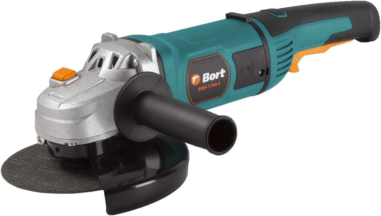 Bort Amoladora angular BWS-1700-S de 180 mm de diámetro, 1700 W, 8000 rpm, con función de arranque suave, incluye cepillo de carbón adicional.