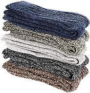 5 pares de meias masculinas de inverno BesPORTBLE, meias de lã grossa, vintage, para esportes ao ar livre, cam
