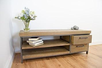 De madera de haya Industrial Chic mueble para televisor con dos y estantes de moldeo de cajones: Amazon.es: Hogar