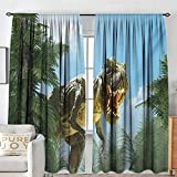 "NUOMANAN Blackout Curtains 2 Panels Fantasy,Giant Dinosaur in Forest Jurassic Monster Fossil Creature Digital Design,Sky Blue Fern Green,Rod Pocket Curtain Panels for Bedroom & Kitchen 54""x63"""