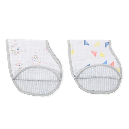"Amazon.com: aden + anais Burpy Bib, 100% Cotton Muslin, Soft Absorbent 4 Layers, Multi-Use Burp Cloth and Bib, 22.5"" X 11"", 2 Pack, Lovestruck: Baby"