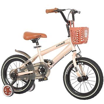 1-1 16 Pulgadas para niños Bicicleta, Altura Ajustable Doble Freno Antideslizante La Seguridad Muchachos Chicas Niños Al Aire Libre Ciclismo Juguete,Beige: ...