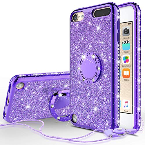 Wydan Case Compatible for Apple iPod Touch 7th, 6th, 5th Generation - Bling Glitter Ring Kickstand Phone Cover (5 Case Kickstand Touch Ipod)
