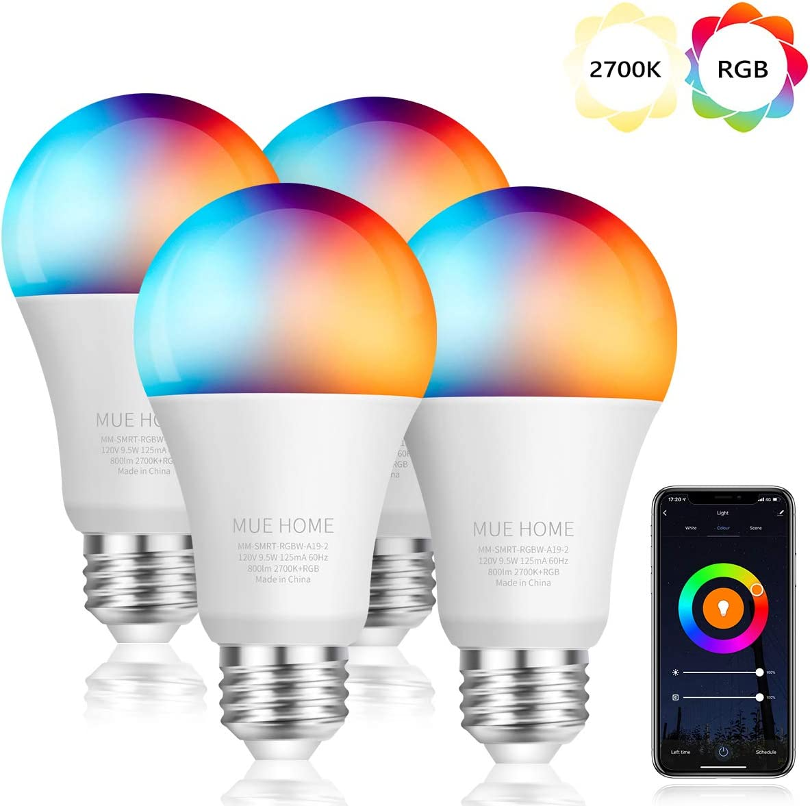 Smart WiFi 2.4 Ghz (NOT 5 Ghz) A19 Light Bulb, Dimmable 2LED + RGB Multicolor Changing, Work with Alexa, Google Home (No Hub Required), E26 Base 9.5W, UL Listed by Mue Home, 4 Pack