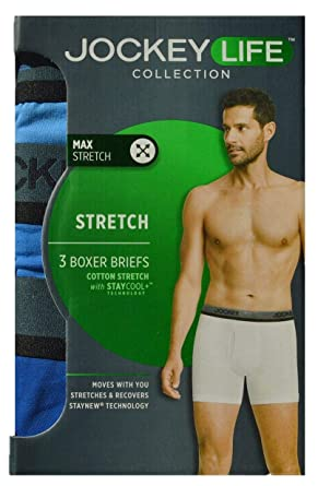 1b310372133c9c Jockey Life 3-Pack Men's Cotton Stretch Staycool Boxer Briefs - Assorted  Solids (L
