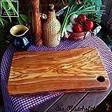 Legno di ulivo Tagliere, tagliere con angoli arrotondati e Foro - 40cmx20cm