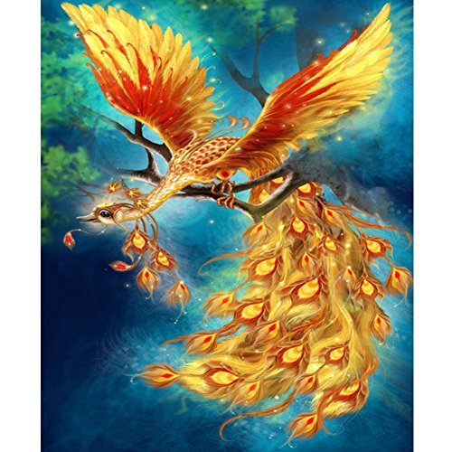 5D Diamond Painting Kit, Gold Peacock on Tree, Partial Drilled Partial Diamonds DIY Painting Home ()