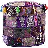 Jewel Fab Art Vintage Pouf Ottoman Moroccan Embroidered Footstool Decorative Tuffet Bean Bag