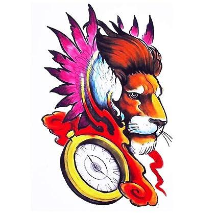 Justfox - Tatuaje temporal, diseño de león, multicolor: Amazon.es ...