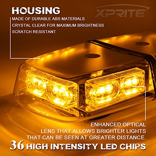 Xprite Gen 3 Amber Yellow 36 LED 18 Watts High Intensity Law Enforcement Emergency Hazard Warning LED Mini Bar Strobe Light with Magnetic Base