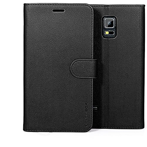 Note 4 Case, BUDDIBOX [Wallet Case] Premium PU Leather Wallet Case with [Kickstand] Card Holder and ID Slot for Samsung Galaxy Note 4, (Black)