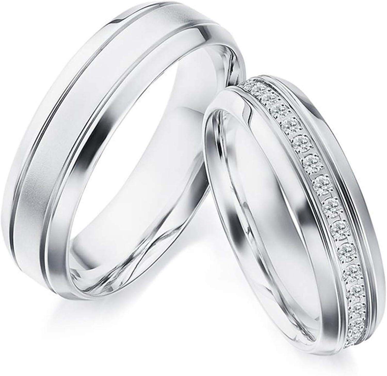 Epinki Anillo Oro Blanco 18k Mate Línea Diamante 0.23ct Anillos de Boda