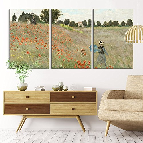 (wall26 3 Panel Canvas Wall Art - Poppy Field by Claude Monet - Giclee Print Gallery Wrap Modern Home Decor Ready to Hang - 16