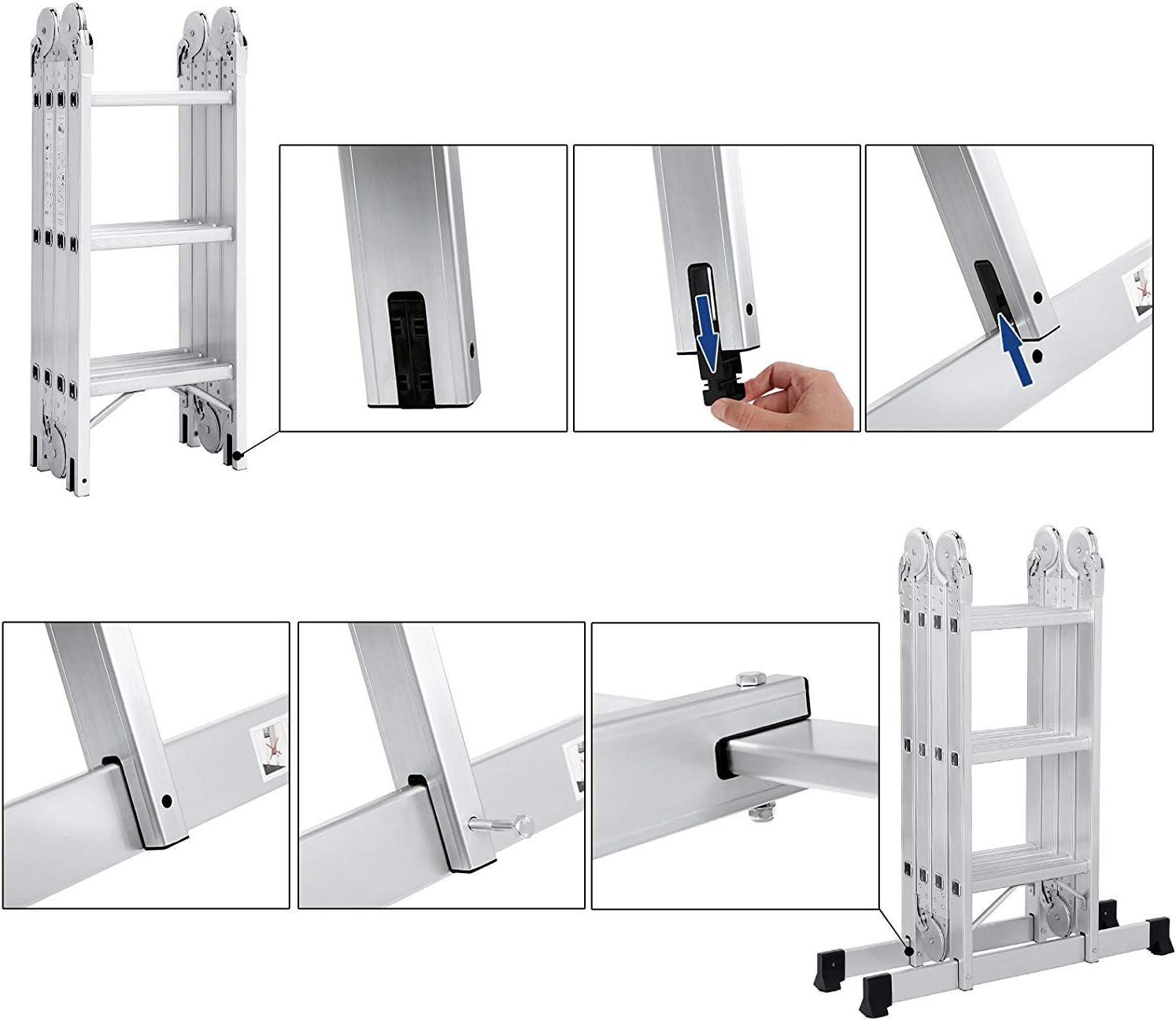 Aluminium Multifunktionsleiter 16 Sprossen 3,6m Gesamtl/änge Vielzweckleiter Gelenkleiter Leiterger/üst