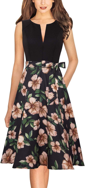 VFSHOW Womens Elegant Zipper up Pockets Work Business Office Party A-Line Dress