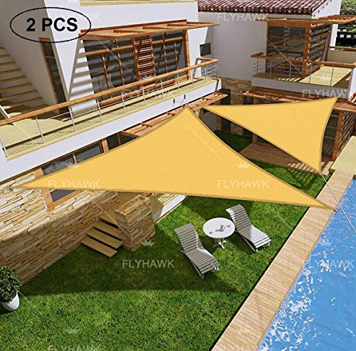 FLY HAWK SunShadeSailTriangle, 2 PCS 12'x12'x12' Patio Sunshade Cover Canopy - Durable FabricCloth for Outdoor Garden Backyard Swimming Pool Pergola - Sand Color