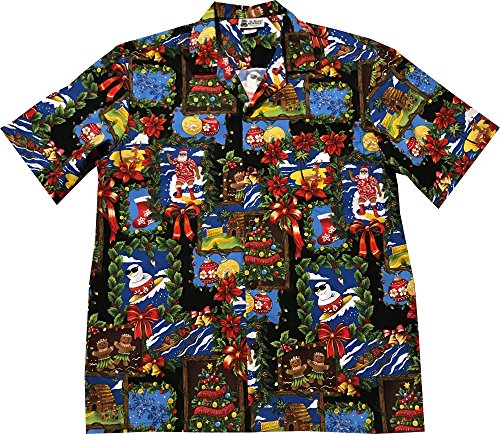 Aloha Republic Gingerbread Man Ornaments Candy Canes Hawaiian Christmas Shirt 2017
