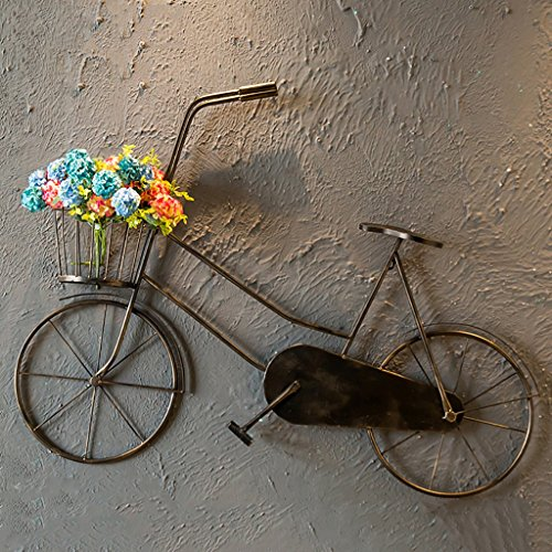 QBZS-YJ Vintage Wrought-iron Bicycle Wall Hangings Creative Shelf Home-decorated Balcony Wall Hangings (Bronze) (Color : C) (Wall Wrought Art Bicycle Iron)