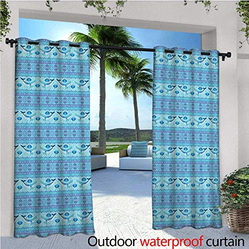 y Curtain for Pergola Ocean Inspired Pattern with Ethnic Geometrical Borders Fish and Scallops Thermal Insulated Water Repellent Drape for Balcony W84