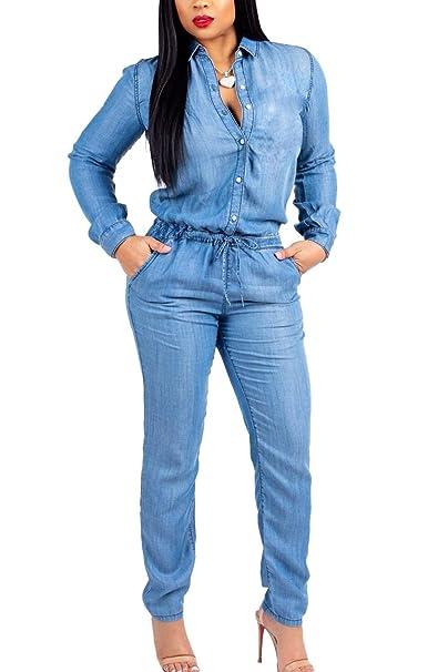 4c8bdc850ae Fanvans Womens Casual Jumpsuit Long Sleeve Button Down Denim Rompers Blue S