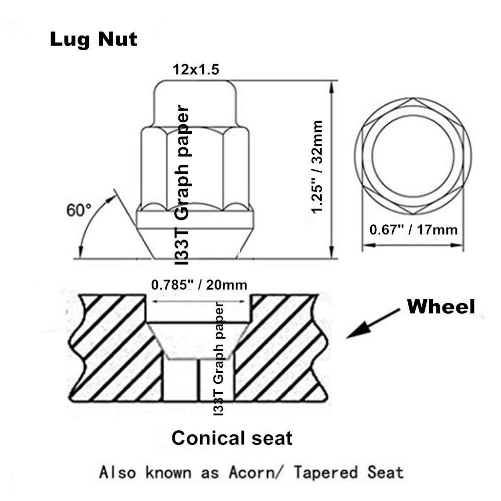 20 Pcs Length 32mm with 1 Key I33T Wheel Lug Nuts 12x1.5 Open End Lug Nut Set Universal Auto Blue M12x1.5 Lug Nut