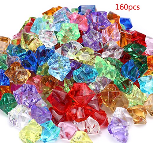 Acrylic Gems Jewels Pirate Treasure Chest Hunt Party Favors Approximately 160 pieces (Glass Shapes Gems)