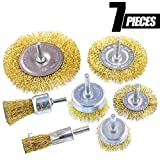 Swpeet 7Pcs Brass Coated Wire Brush Wheel & Cup Brush Set with 1/4-Inch Shank, 7 Sizes Coated Wire Drill Brush Set Perfect For Removal of Rust/Corrosion/Paint - Reduced Wire Breakage and Longer Life