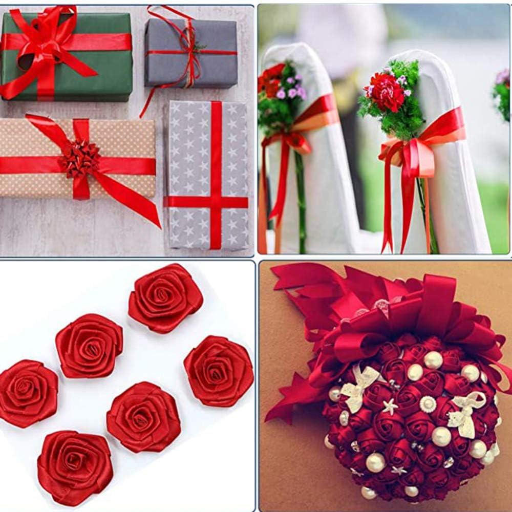 New 25 Yards Silk Satin Ribbon Reels Double Sided 1cm Widths Wedding Party Decor