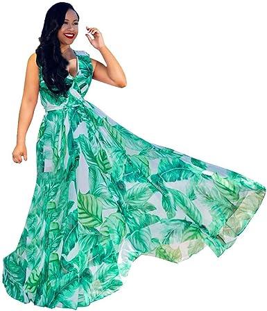 Lonupazz Maxi Robe Longue Boheme Chic Imprimee Fleurs Femme Ete Robes De Plage Sundress Floral Print Dress Sans Manche Amazon Fr Vetements Et Accessoires