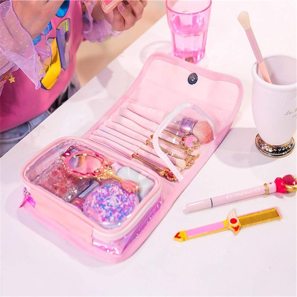 Fanovo Holographic Makeup Bag, Portable Travel Cosmetic Bag, Laser Brush Case, Shiny Rainbow Pouch, Waterproof Zipper Handbag - Holographic Pencil Case, Makeup Brush bag (Pink)