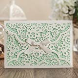 Wishmade CW5166 White Laser Cover Wedding invitations With Green Inner Sheet, Business invitation card, birthday party invitation card, Free Customize,Free Printing (100)