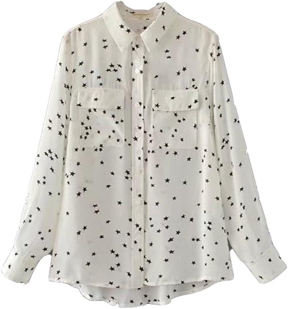 SYGoodBUY Camisa de Mujer con Mangas largas Blusa con Cuello Entallada Elegante Impreso Casual Verano (Color : Blanco, Tamaño : S): Amazon.es: Ropa y accesorios