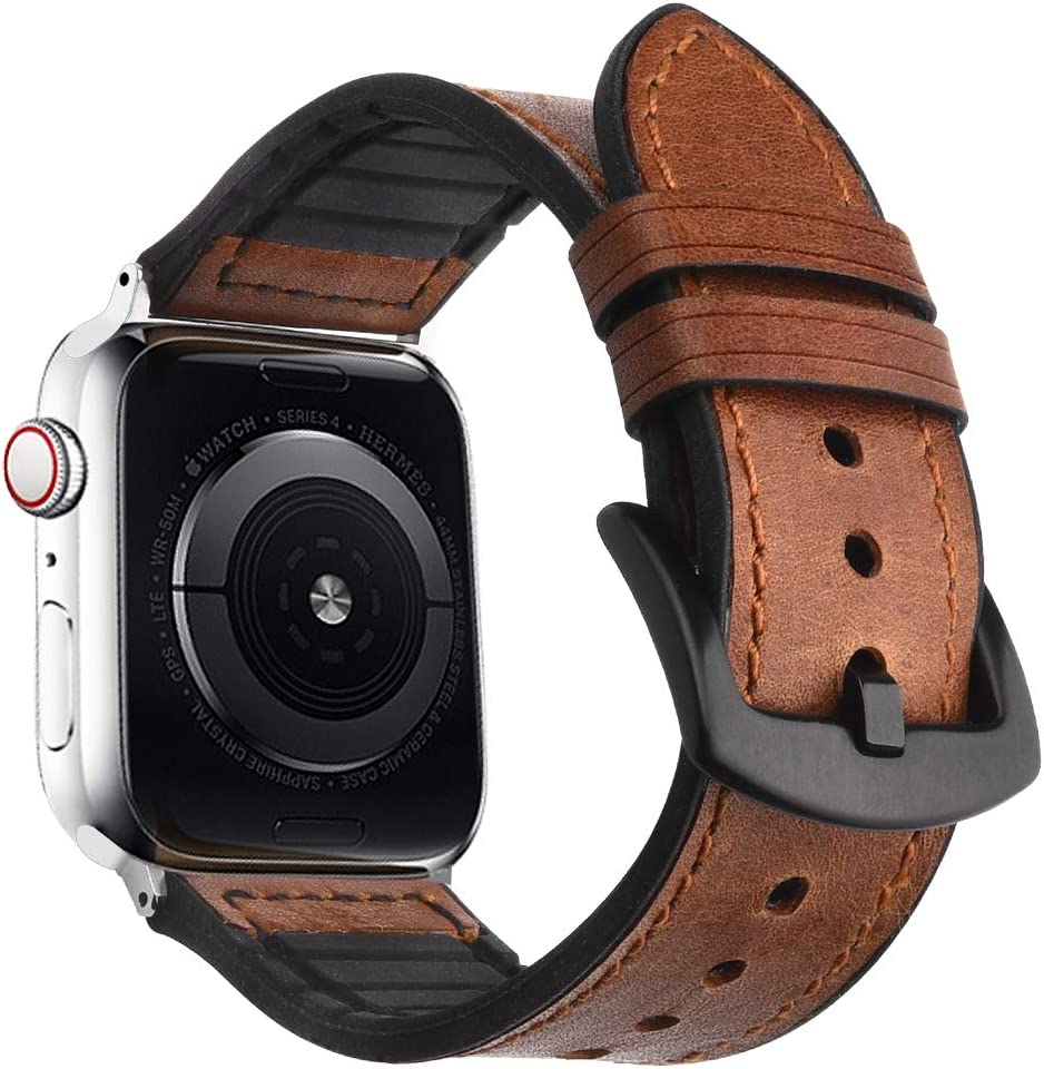 Goton Leather Sport Band Compatible with Apple Watch Leather Band 44mm 42mm, Genuine Leather with Soft Silicone Men Women for iWatch Band Series 4 3 2 ...