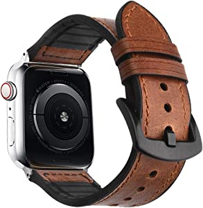 Goton Compatible with Apple Watch Band 38mm 40mm,Men Women Rugged Genuine Sports Leather and Soft Silicone Waterproof Material for iWatch Series 5 4 3 2 1 Sport and Edition