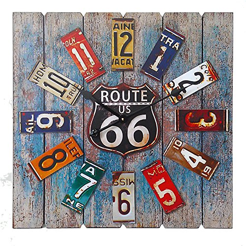 (Essential Décor Entrada Collection Square Route 66 Clock, 23.6 by 1.9 by 23.6-Inch)