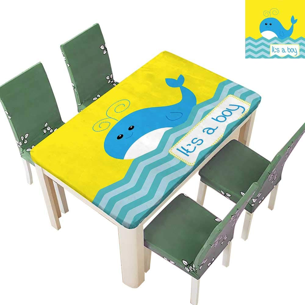 Printsonne Table in Washable Polyeste Its A Boy Quote with Whale Swimming My Son Cute Funk Art Wedding Party Restaurant 54 x 120 Inch (Elastic Edge)