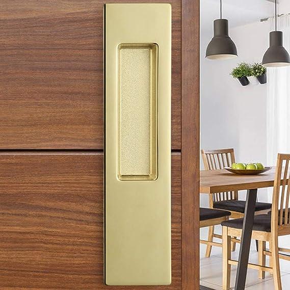 Manija Oculta de la Puerta corredera gabinete manija del cajón manija de aleación de Zinc incrustada manija de Oro Tirador de Granero 186mm x 44mm (Color : Gold): Amazon.es: Hogar