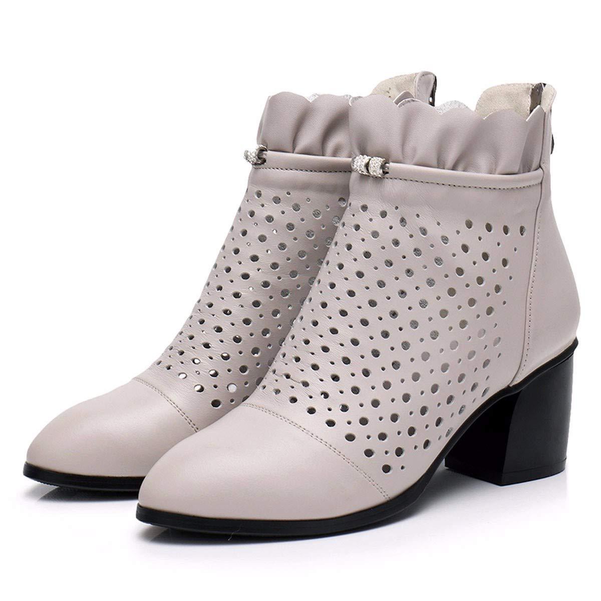 KPHY Damenschuhe Loch Im Sommer Schuhe Leder Stiefel Ausgehöhlten Stiefeln Dicken Betuchte Stiefel Leder High Heels Frühling und Herbst Stiefel Atmungsaktive Schuhe S.Grau ca5ae2