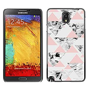 LASTONE PHONE CASE / Slim Protector Hard Shell Cover Case for Samsung Note 3 N9000 N9002 N9005 / Cool Grey Pink Peach Abstract Polygon Pattern