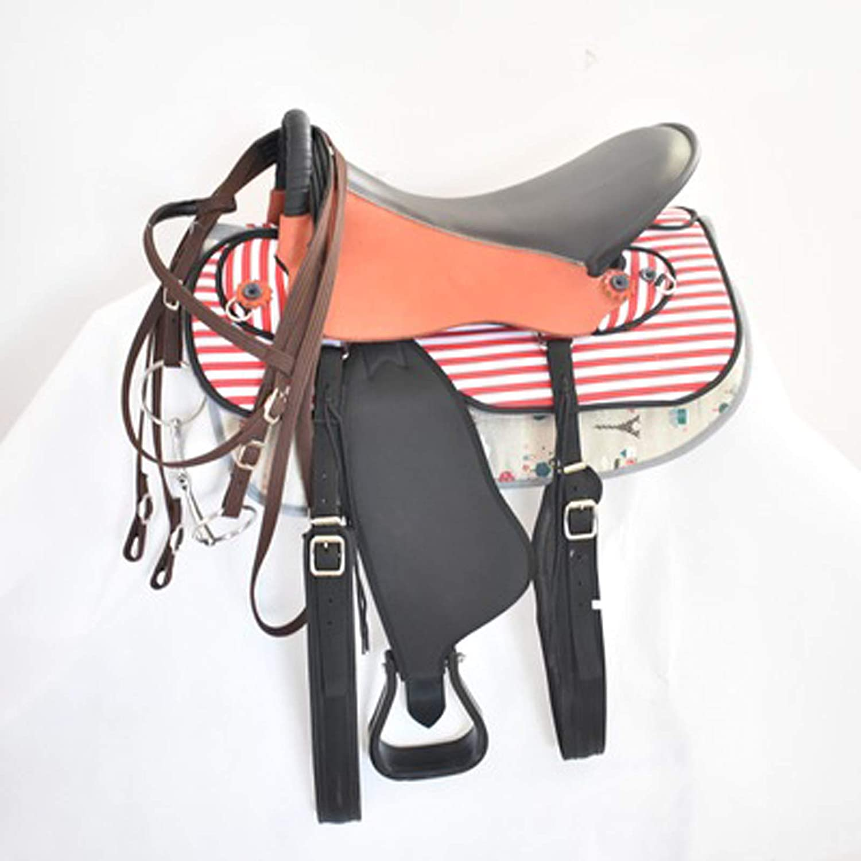 BLCC - Juego completo de taburetes para silla de montar y montar con adornos para silla de montar y montar, cómodo, práctico y adecuado para ecuestre de campo