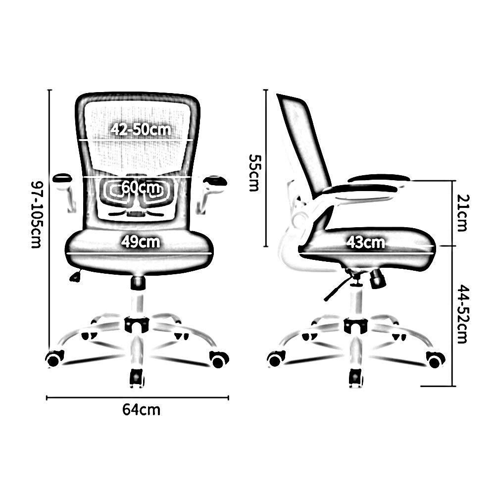 Dalovy bekväm kontorsstol, justerbar korsryggsstöd lyft rotationspersonal verkställande stol med fri funktion ergonomi student datorstol Rosa