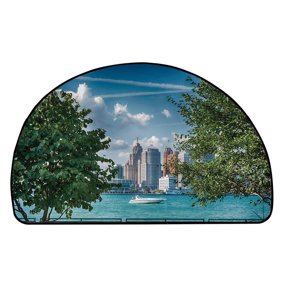 C COABALLA Detroit Decor Comfortable Semicircle Mat,Detroit Sightseeing on Summer Afternoon Modern Architecture River Boat Decorative for Living Room,13.7'' H x 27.5'' L
