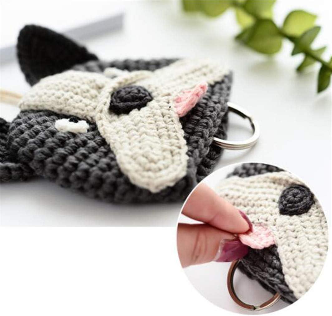 YouCY Dog Bell Key Case Cartoon Animal Keychain Women Key Wallet Bag Fashion Pull Drawstring Key Ring Holder,1#