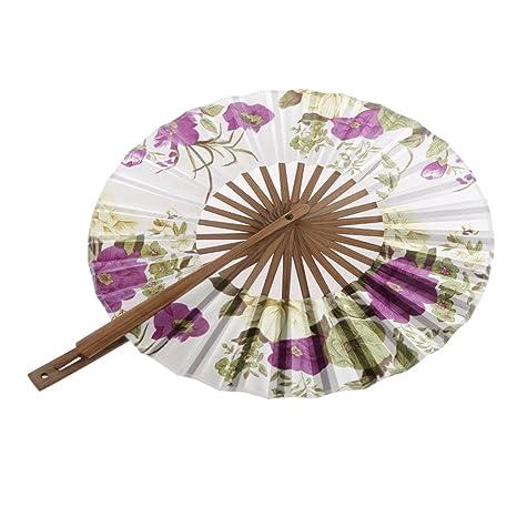 8 Pulgadas Ventilador del Mano Seda de Flor Superficie Abanico Plegable Bambú Monedero Molino de Viento - Púrpura