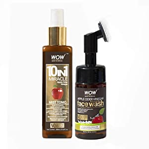 WOW Apple Cider Vinegar Face Wash W/Brush and Facial Mist Toner Spray Bundle Kit - Gentle Exfoliating Bristle Brush Daily Cleanser - Hydrate For Soft, Smooth Skin - Natural Skin Care Set - 100mL (x2)
