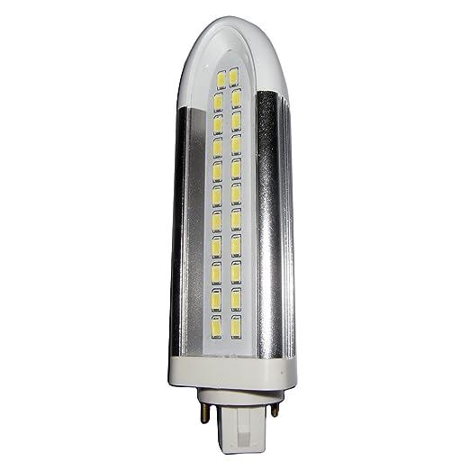 LightED PLC SMD Bombilla LED 65K G24d, 10 W, Blanco y Plata, 145