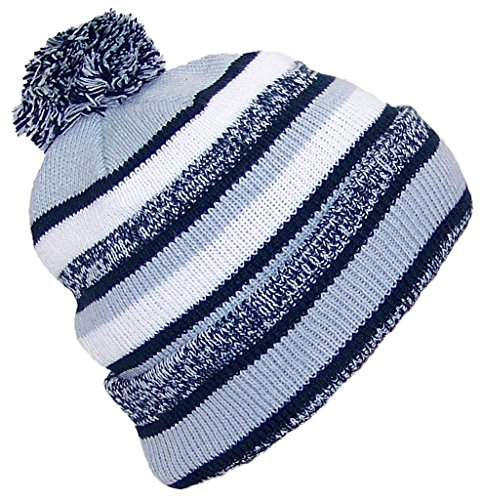 Best Winter Hats Quality Striped Variegated Cuffed Hat W/Large Pom (One Size) - Navy/Gray